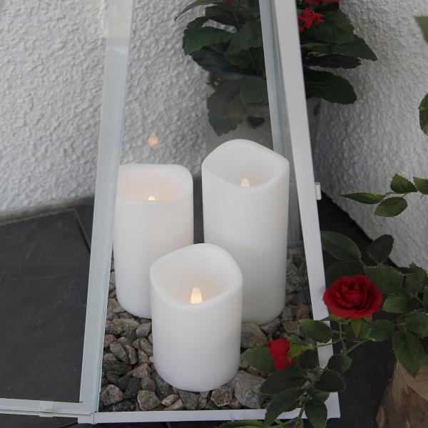 "LED Stumpenkerze ""Paul"" - flackernde LED - H: 7,5cm - Batteriebetrieb - Timer - outdoor - weiß"