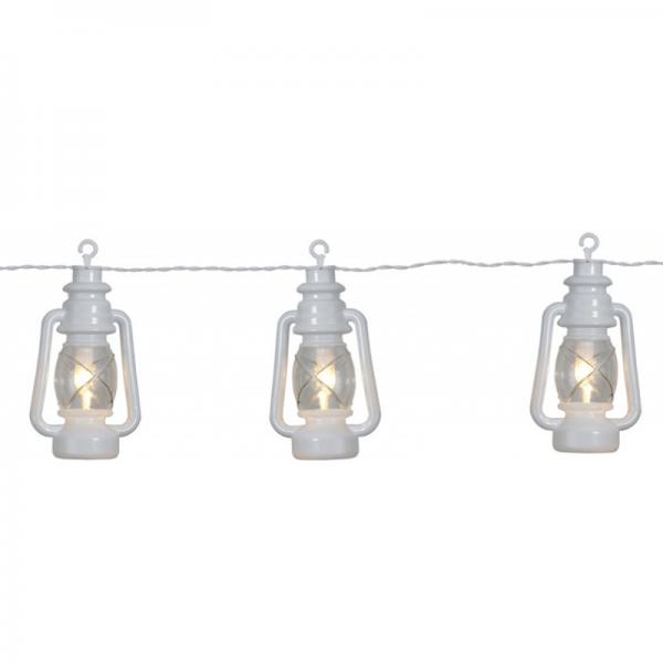 """LED Lichterkette """"Laterne"""" - 8 weiße Laternen mit warmweißer LED - L: 2,8m - outdoor - mit Haken01"""