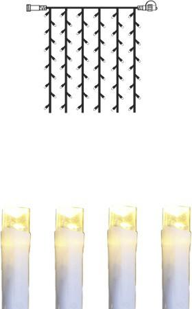 System DECOR | LED Lichtervorhang | koppelbar | 1x0,8m | weißes Kabel | 42 warmweiße LEDs