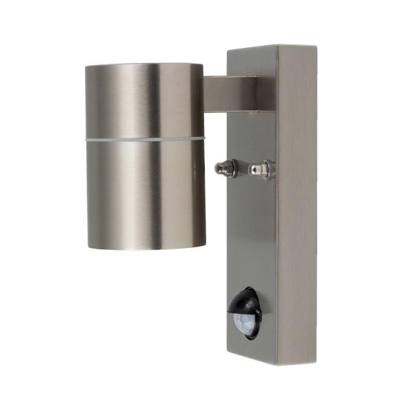 Wandleuchte GRENADA Sensor - GU10 - Edelstahl - 163x110mm - unten - integrierter Bewegungsmelder