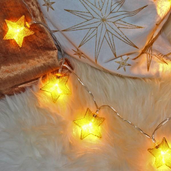 LED Lichterkette mit goldenen Metallsternen - 10 warmweiße LED - Batteriebetrieb - L: 0,9m - gold