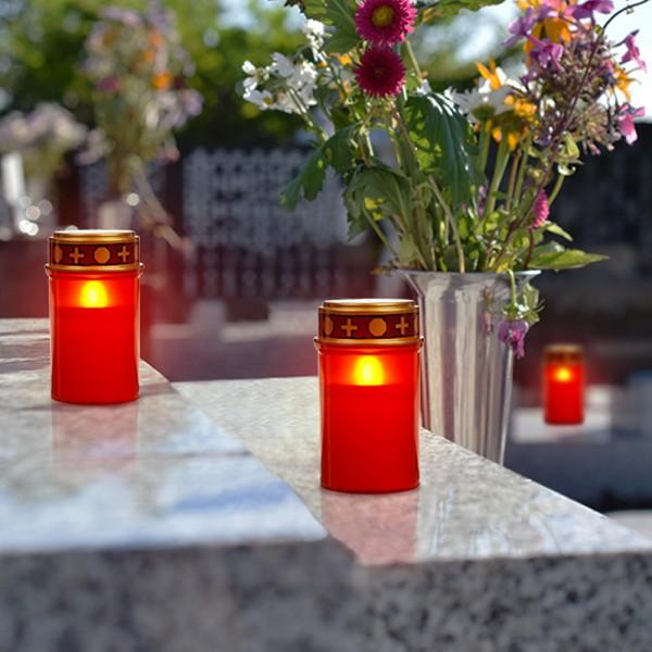 LED Grablicht - rot mit Deckel - LED: gelb - Outdoor - H:12cm D:7cm