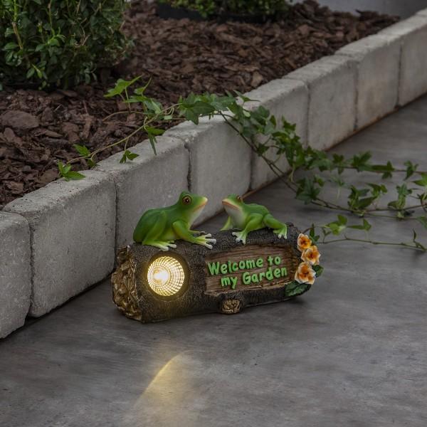 """LED Solar Figur """"Frogy"""" - 2 Frösche auf Baumstumpf - warmweiße LED - Dämmerungssensor"""