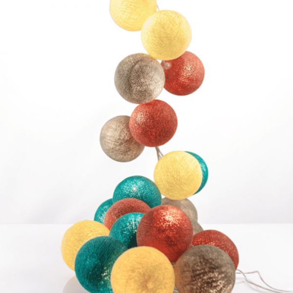 good moods* LEBENSWERT - Ball-Lichterkette mit 20 Stoffkugeln - 20 warmweiße LEDs - Geschenkkarton