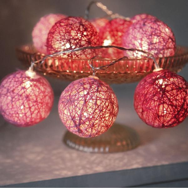 LED Ball Lichterkette SISAL - 10 warmweiße LED - 1,35m - inkl. Trafo - pink/rosa
