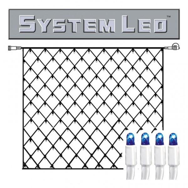 System LED White | Lichtnetz | koppelbar | exkl. Trafo | 3,00 mx 3,00m | 192x Blau
