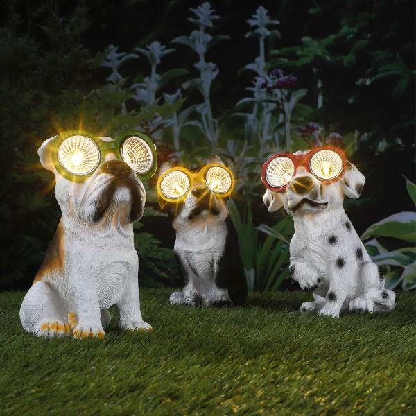 LED Solar Leuchte - Hund - warmweiße LED - H: 20cm - Gelbe Brille