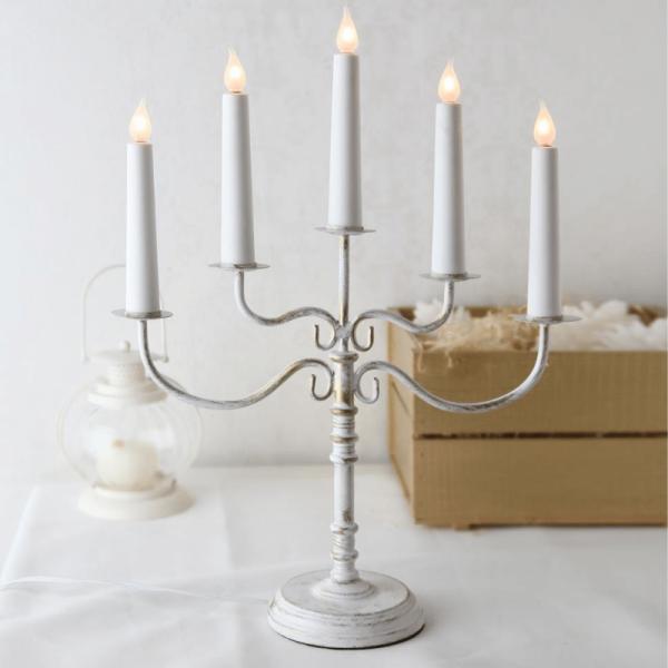 Kerzenleuchter Romantika - 5 Arme - warmweiße Glühlampen - H: 50cm - Schalter - antik weiss