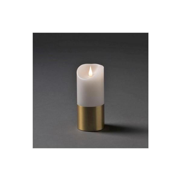 LED Kerze mit messingfarbener Banderole - Echtwachs - 3D Flamme - Timer - H: 17,5cm, D: 7,5cm - weiß