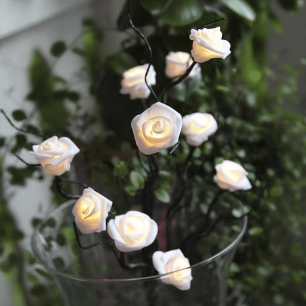 """LED Rosenzweig """"SNOW"""" - 10 Rosen mit warmweißer LED - H: 50cm - Batteriebetrieb - Timer - weiß/braun"""