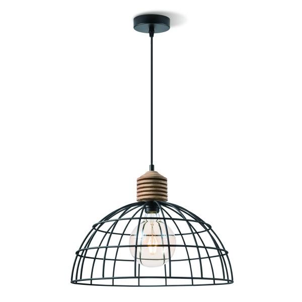 Pendelleuchte VINTO schwarz - Draht und Holz - E27 - 40cm Durchmesser - 1m Kabel