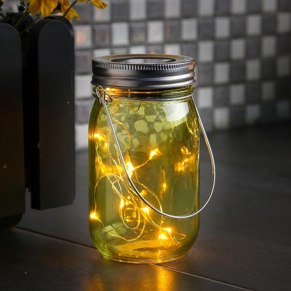 LED Solarglas - LED Drahtlichterkette - Lichtsensor - Aufhänger - H:14cm - D: 8cm - grün