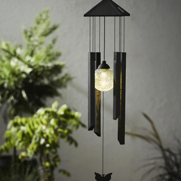 """LED-SolaLED Solar Windspiel """"Schmetterling"""" - klare Kugel - warmweiße LED - Dämmerungssensor - outdoor"""