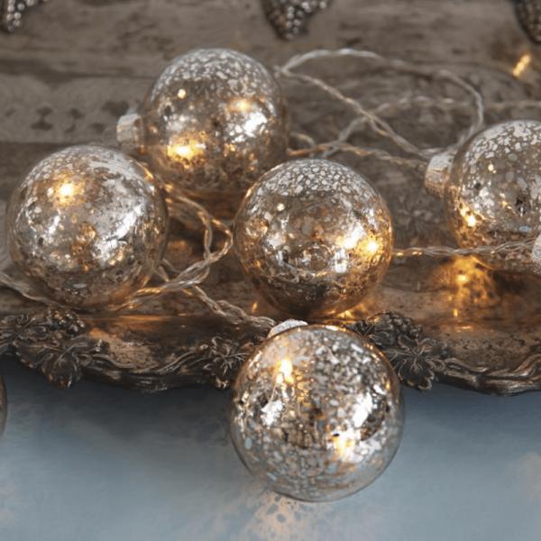 """Glaskugel-LED-Lichterkette """"Argent"""" - 8 warmweiße LED -  2,1m - Trafo - transparentes Kabel - silber"""