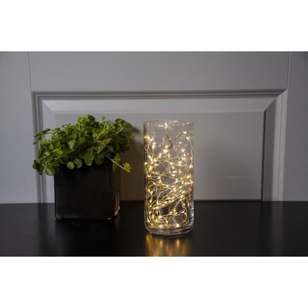 "LED Drahtlichterkette ""Dew Drop"" - 100 warmweiße LED - silberner Draht - L: 5m - inkl. Trafo"
