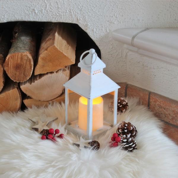 LED Laterne mit Kerze - warmweiß flackernde LED - H: 23cm - Batteriebetrieb - weiß