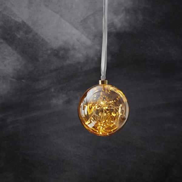 Glaskugel GLOW - amber Glas - 40 warmweiße LED am Draht - D: 15cm - inkl. Trafo - 3m Kabel