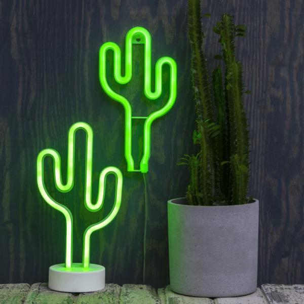 LED-Silhouette Neonlight grüner Kaktus - Wandmontage - 29,5cm x15cm - Batterie - Timer 1