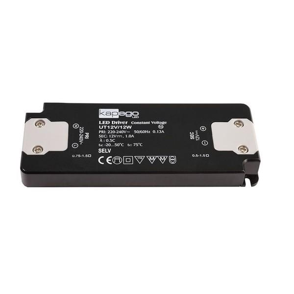 Kapego Netzgerät flach - 12V 12W 1,0A - schwarz - kurzschluss- überlastfest - 128x50x13mm