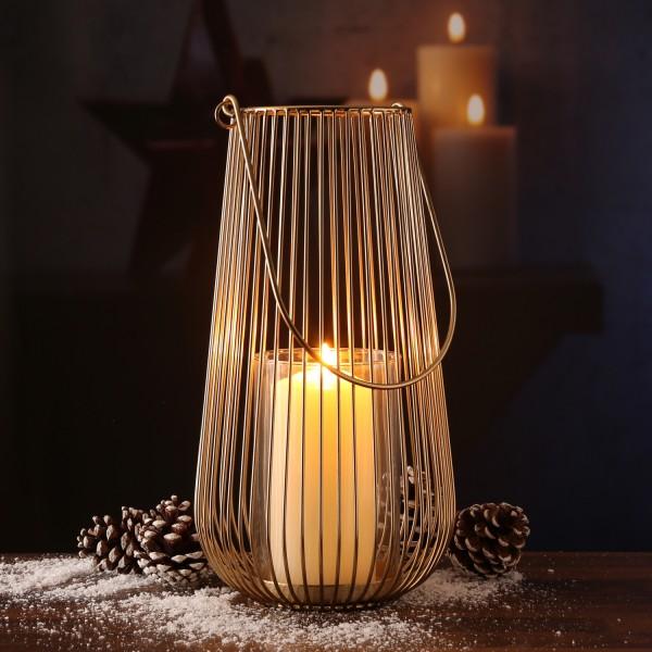 Windlicht Laterne - Metall - Glaseinsatz - H: 35cm - gold