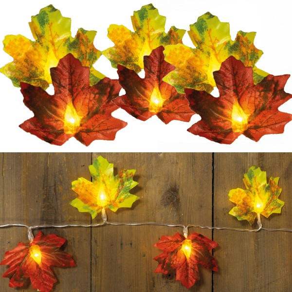 LED Lichterkette Herbstblätter - 10 warmweiße LED - Kunststoff - L: 0,9m - Batteriebetrieb - rot/gelb