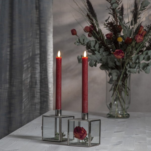 "LED Stabkerze ""Flamme"" - Echtwachs - warmweiße LED - H: 25cm - Timer - rot - 2er Set"