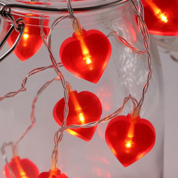 LED Lichterkette Herzen - 10 warmweiße LED - L: 90cm - Batteriebetrieb - rot