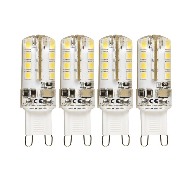 4er - LED Leuchtmittel Stecksockel G9 - 230V - 2,3W - 180lm - 3000K