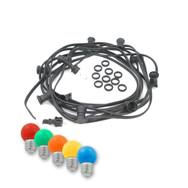 ILLU-Lichterkette BLACKY - 50m - 50xE27 | IP44 | mit bunten LED Kugellampen | SATISFIRE
