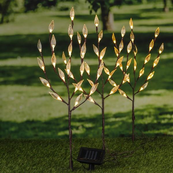 LED Solar Zweige - Sträucher -  je 60 warmweiße LED - H: 80cm - outdoor - 3er Set
