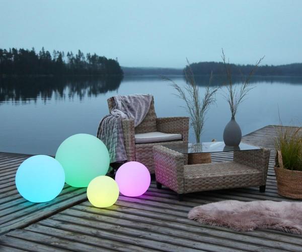 Leuchtobjekt outdoor KUGEL 30cm mit RGB LED Modul - Wireless Charging - Fernbedienung