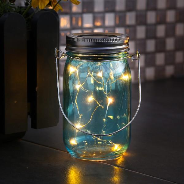 LED Solarglas - LED Drahtlichterkette - Lichtsensor - Aufhänger - H:14cm - D: 8cm - blau