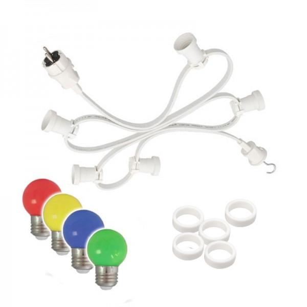 Illu-/Partylichterkette 30m | Außenlichterkette weiß | Made in Germany | 30 x bunte LED Kugellampen
