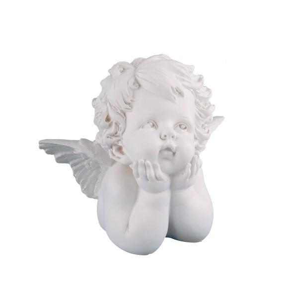 Engel nachdenklich, weiß - 15 x 14 x 10cm