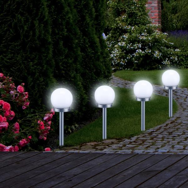 LED Solar Kugellampen 4er Set - 2 kaltweiße LED - H: 37cm D: 10cm - inkl. Erdspieß
