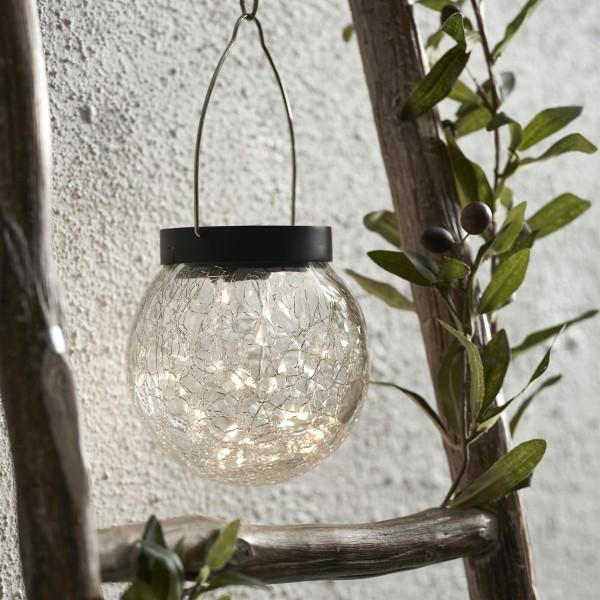 LED Solar Glas GLORY - transparentes Bruchglas - 30 warmweise LED - D: 12cm - Dämmerungssensor