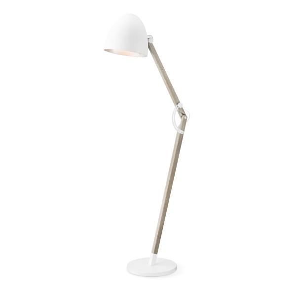 Bodenlampe PETTO - 175cm - schlichtes skandinavisches Design - E27 Fassung - Holz + Weiß