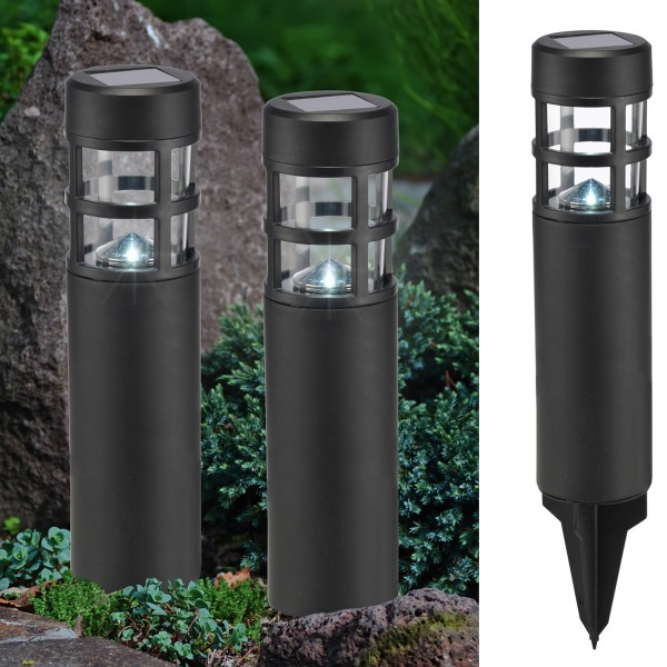 LED Solar Wegleuchten mit Erdspieß - weiße LED - H: 39cm - schwarz - 2er Set