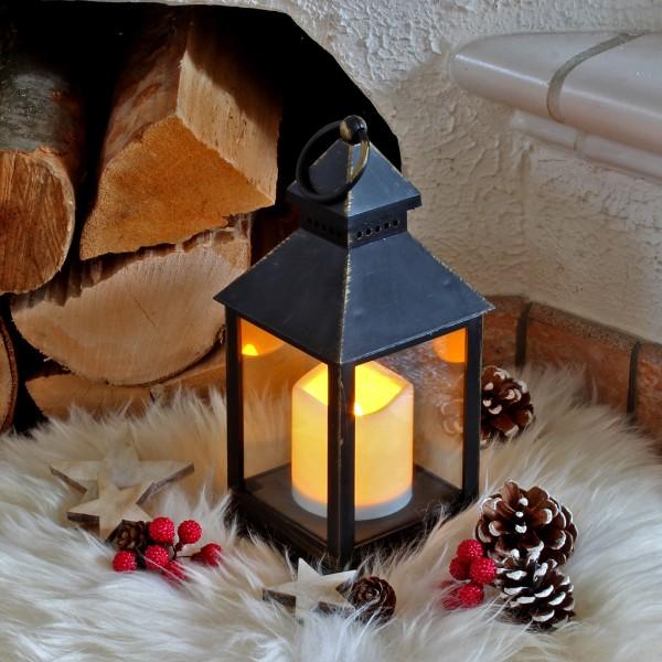 LED Laterne mit Kerze - warmweiß flackernde LED - H: 23cm - Batteriebetrieb - schwarz