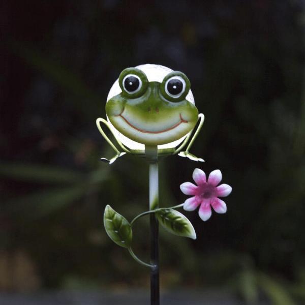 """LED Solarstab """"Froggy""""- grün - weiße LED in Glaskugel - H: 83cm - D: 13cm - Dämmerungssensor"""