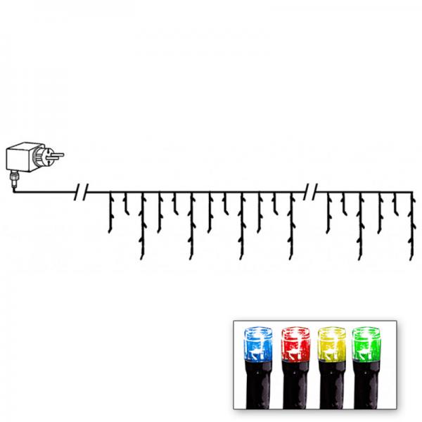 LED-Lichtvorhang | Serie LED | Outdoor | Schwarzes Kabel | bunte LED | 4.00m x 40m | 144x LEDs