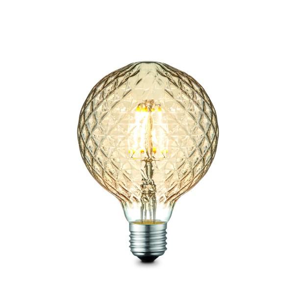 LED Kugelleuchtmittel G95 amber - 3000K - 380lm - E27 - 4W - dimmbar