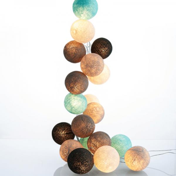 good moods* NATURTREU - Ball-Lichterkette mit 20 Stoffkugeln - 20 warmweiße LEDs - Geschenkkarton