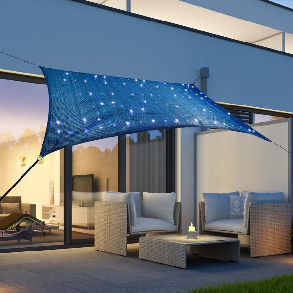 Solar Sonnensegel STERNENHIMMEL - 100 kaltweiße LED - 2 x 3m - UV 50 - Rechteck - blau, schwarz