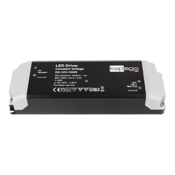 Kapego Netzgerät BASIC - 12V 100W 8,3A - schwarz - kurzschluss- überlastfest - Thermo - 184x61x32mm