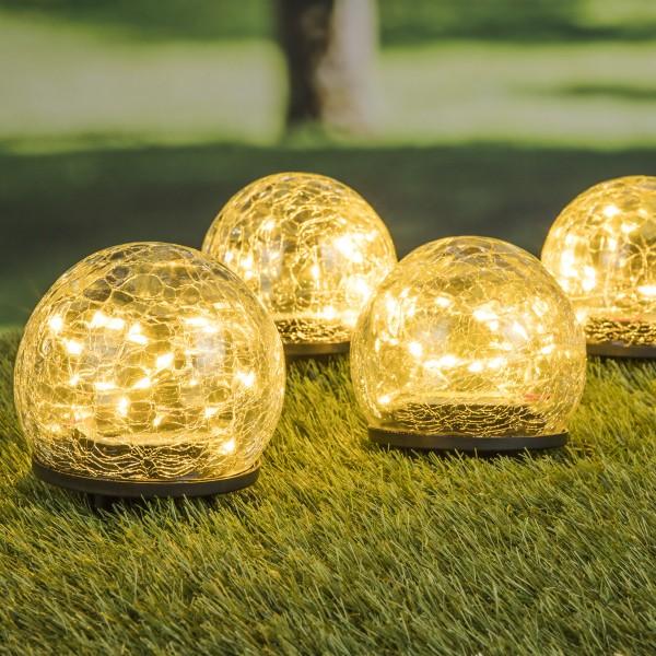 """LED Solar Dekoleuchte """"Crackle"""" - je 20 warmweiße LED - D: 10cm - inkl. Erdspieß - 4er Set"""