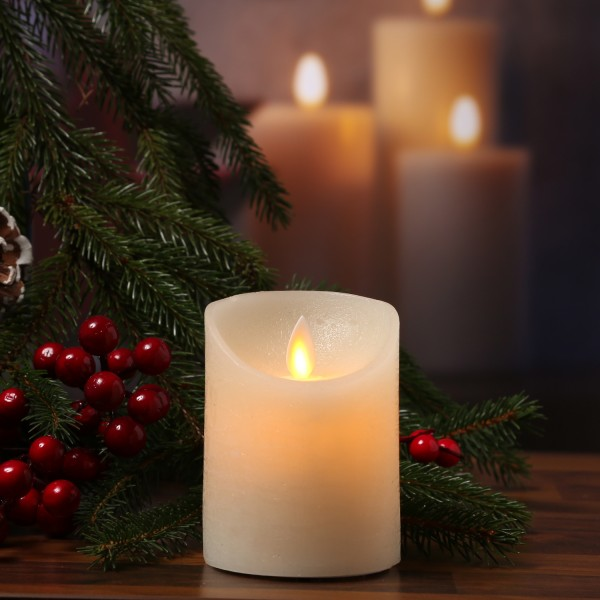 LED Kerze M-Twinkle - Echtwachs - bewegliche Flamme - Auspustfunktion - Timer - H: 10cm - creme