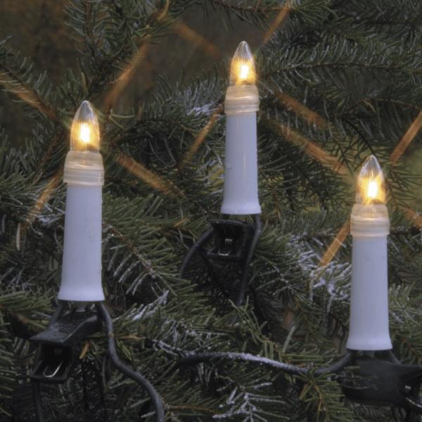 B-Ware Kerzenkette - 25 warmweiße Kerzen - Outdoor - Strang - E10 Fassung - H: 11,5cm, L: 12m - weiß
