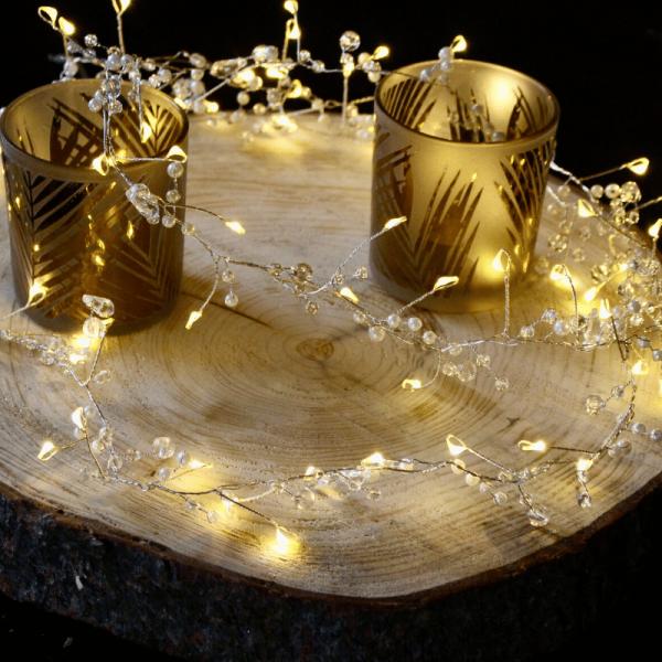 """LED Perlenlichterkette """"Dew Drop"""" mit Kristallen - 72 warmweiße LED - L: 1,9m - Batterie - Timer"""
