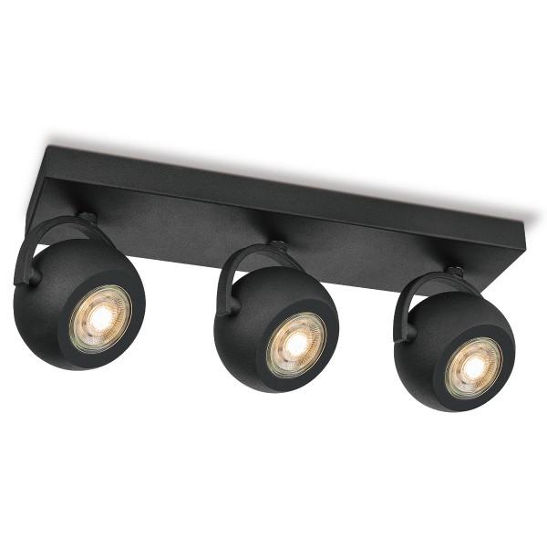 Deckenspot 3fach NOP - Lichtbalken schwarz . 3 x GU10 Leuchtmittel 3000K - dimmbar